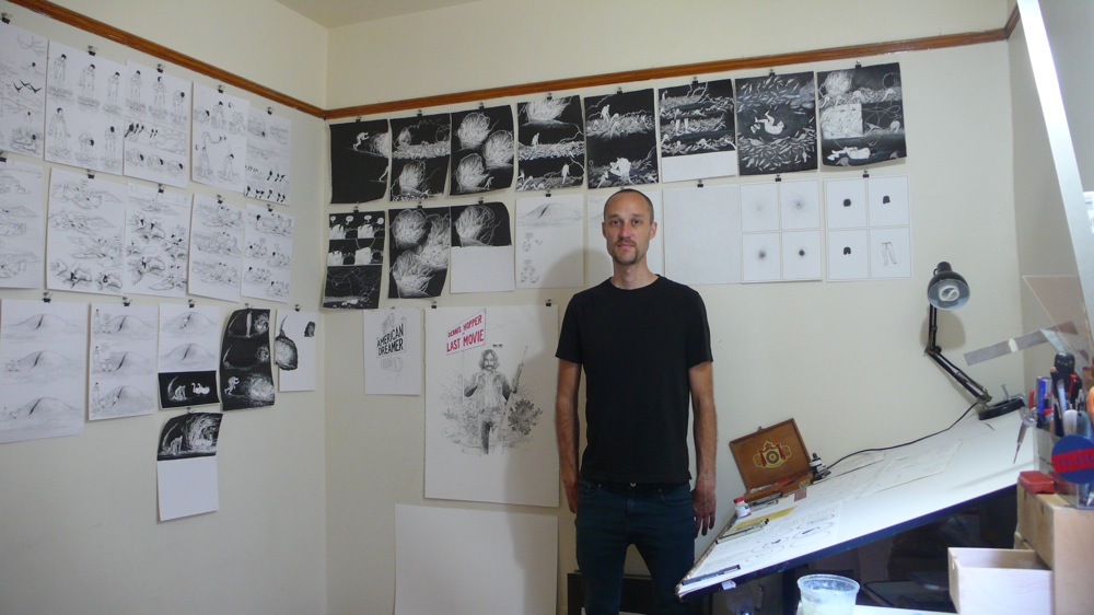 Anders Nilsen in his studio